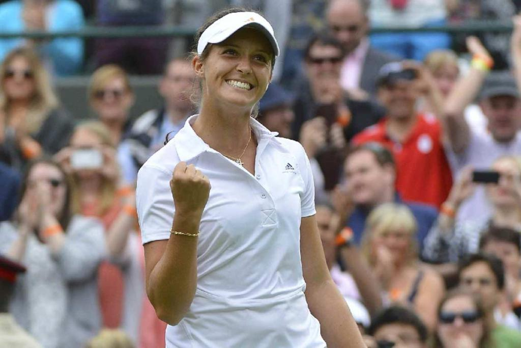 Local hope Laura Robson celebrates after defeating 10th-seed Maria Kirilenko.