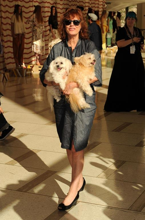 Actress Susan Sarandon with her dogs Rigby and Penny
