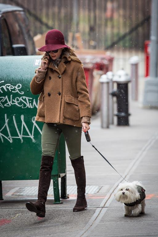 Olivia Palermo takes her dog for a walk.