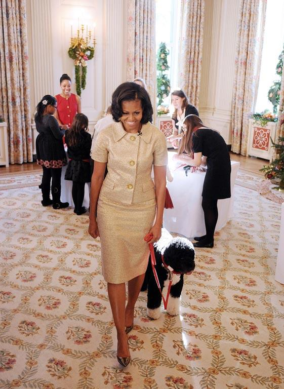 US First Lady Michelle Obama with the 'first dog' Bo.