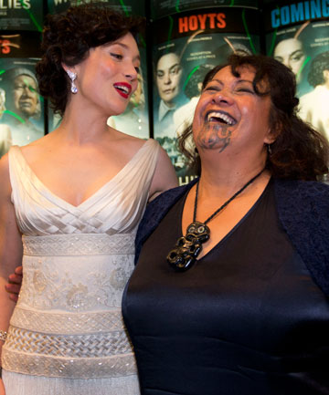 RED CARPET DELIGHT: Antonia Prebble and Whirimako Black share a laugh at the premiere of White Lies.