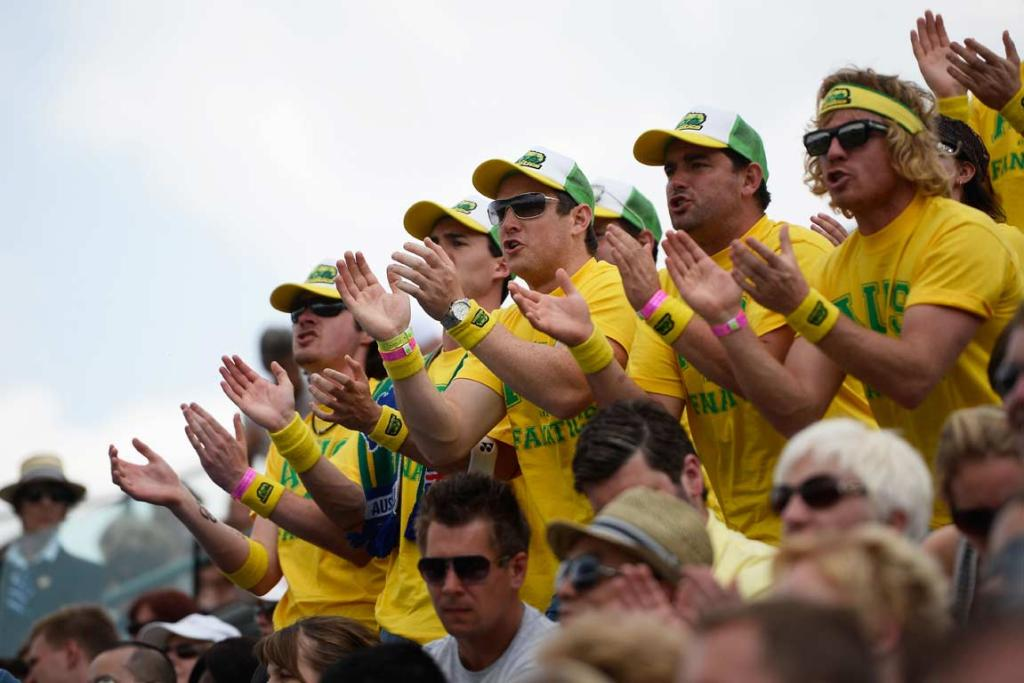 Members of the Aussie Fanatics spectator group during Lleyton Hewitt's match.