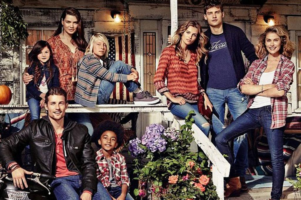 AMONG THE YOUNG: Hutton shines alongside younger models in the Lucky Brand campaign.
