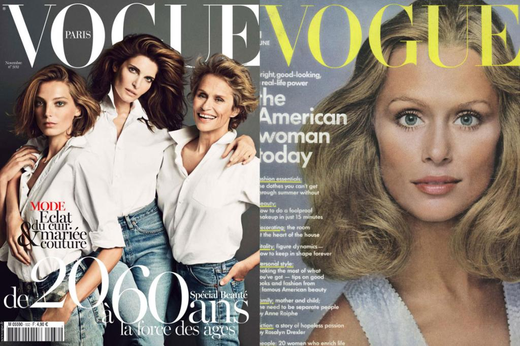 In VOGUE: Hutton on the cover of Vogue Paris, November 2012 and photographed by Richard Avedon for American Vogue, June 1973.