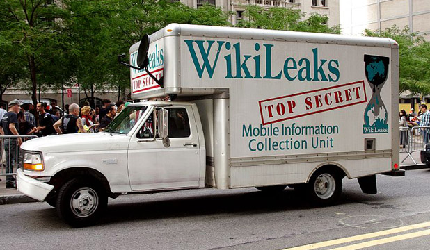 TOP SECRET: Truck driven by Bradley Manning supporter Clark Stoeckle.