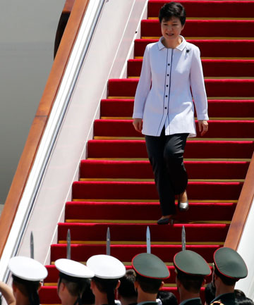 ON ARRIVAL: South Korean President Park Geun-hye arrives in Beijing.