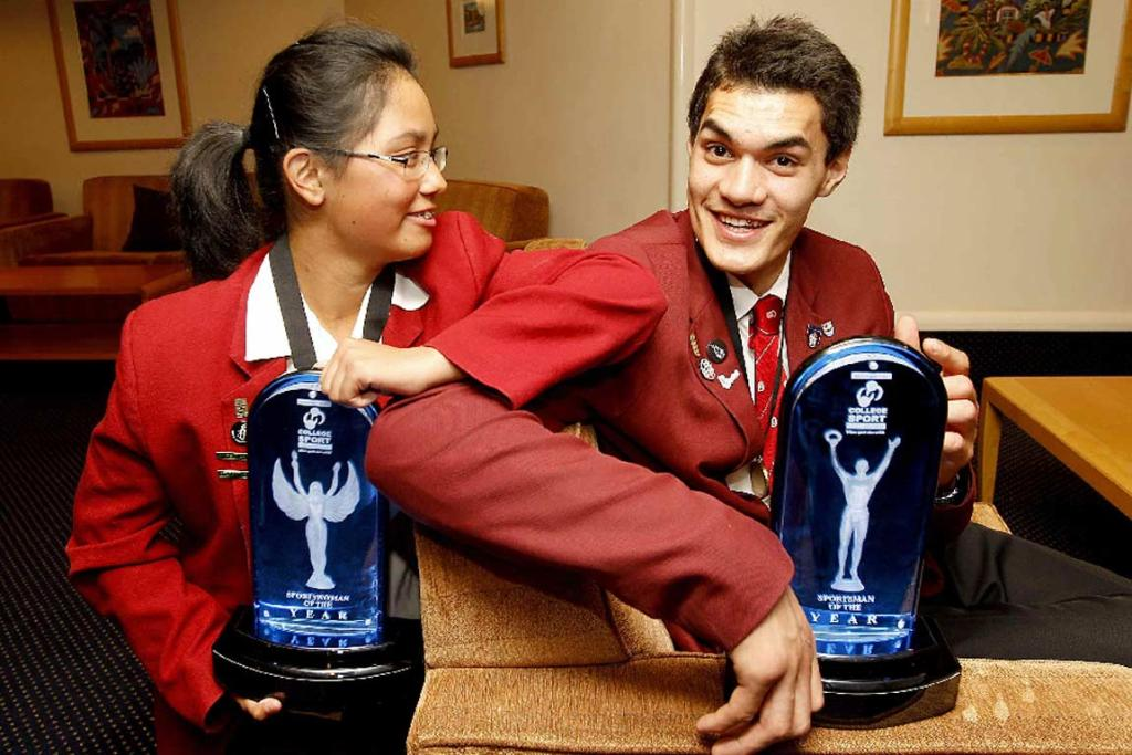 Steven Adams with golfer Julianne Alvarez after they won Wellington College Sports sportsman and sportswoman of the year awards.
