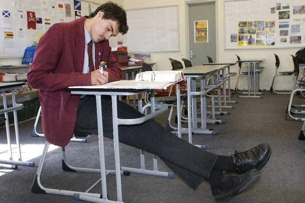 The desks at Scots College struggled to hold a seven-footer.