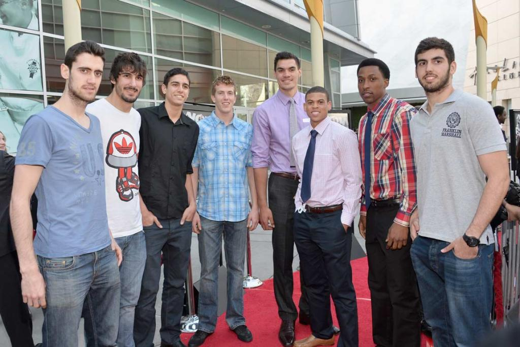 Steven Adams (fourth right) with other members of the 2013 NBA draft class at a movie premiere.