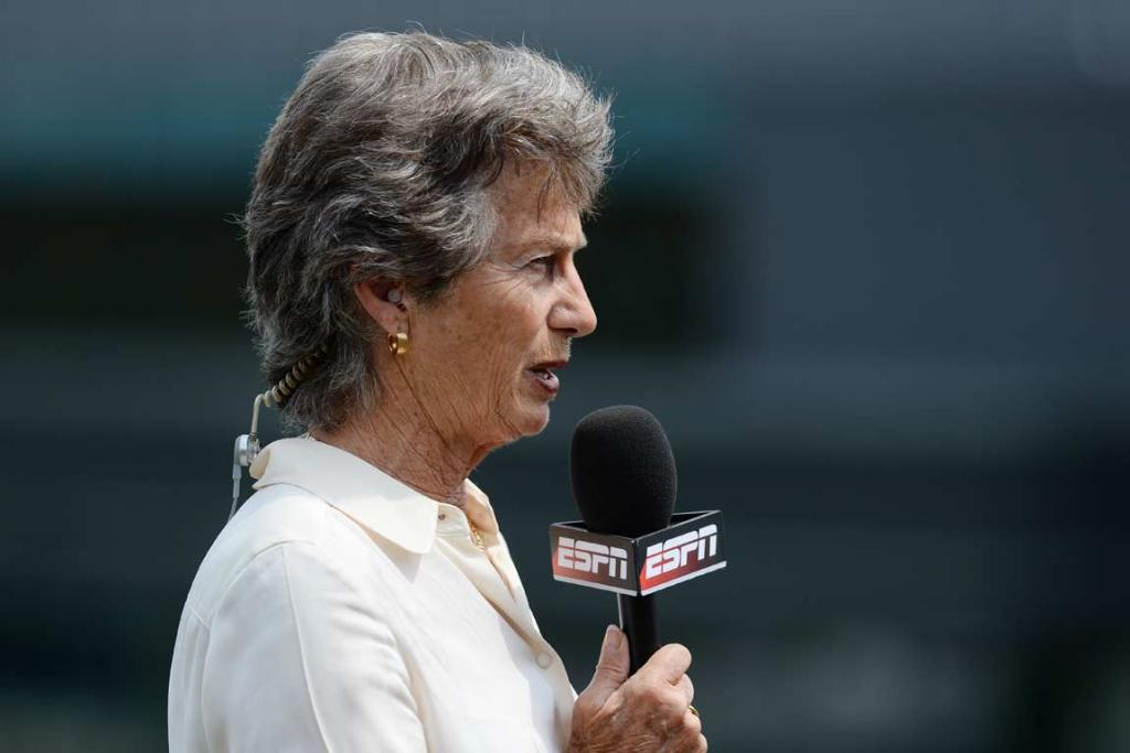 Commentator and former Wimbledon winner Virginia Wade speaks to the camera.