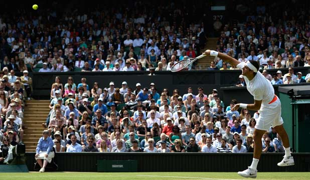 SERVING IT UP: Juan Martin del Potro serves during his second round match against Jesse Levine on centre court.