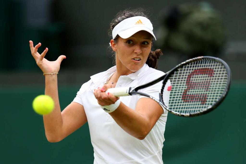 Laura Robson plays a forehand shot during the conclusion of her match against Colombian qualifier Mariana Duque-Marino.