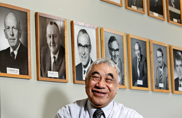TIME OUT: Don Rangi is retiring from Treasury after 54 years on the job. In that time he has worked for 12 Treasury secretaries, starting with E L Greensmith, left, from 1955 to 1964.