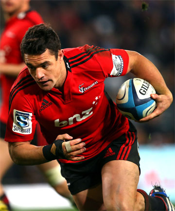 TRY TIME: Dan Carter goes into score for the Crusaders.