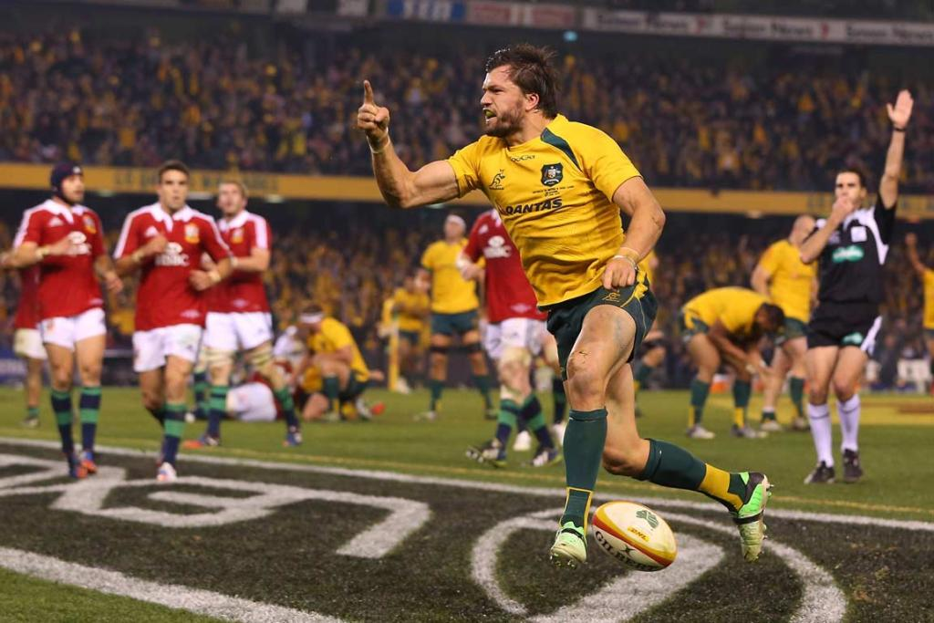 Wallabies fullback Adam Ashley-Cooper celebrates his match-winning try late in the second test.