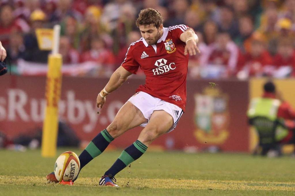 Leigh Halfpenny successfully kicks a penalty in the second half.