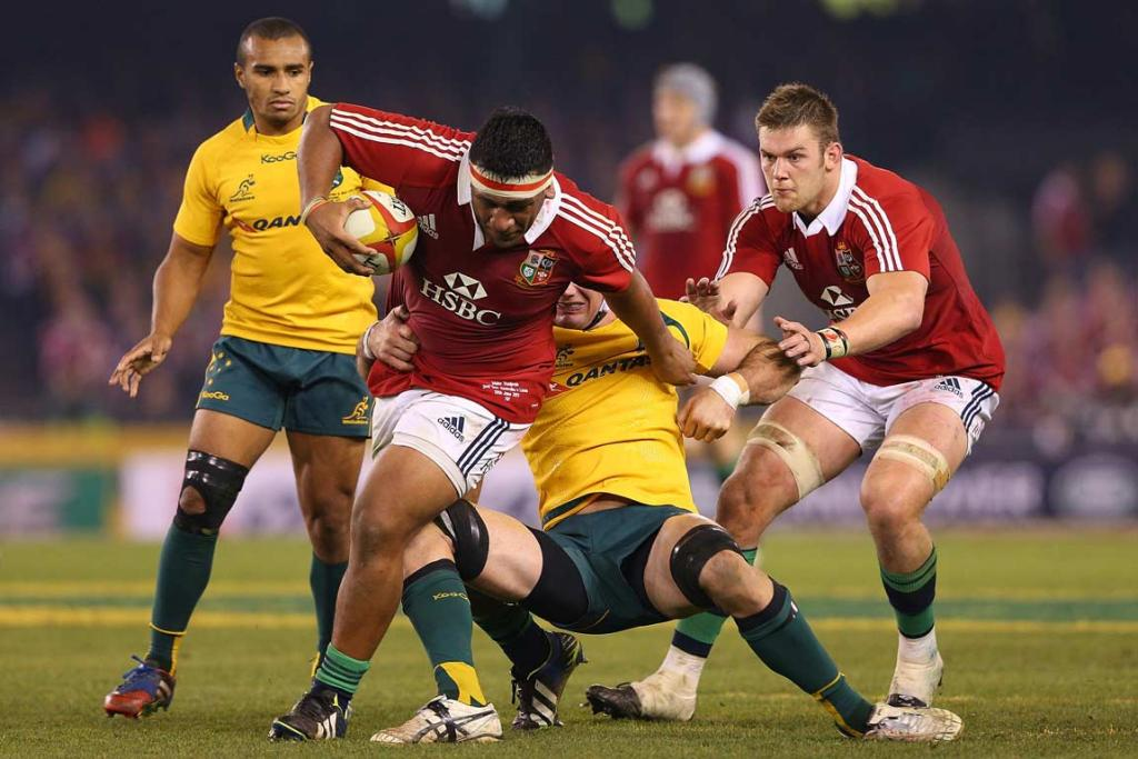 Lions prop Mako Vunipola charges through the Wallabies' defence.