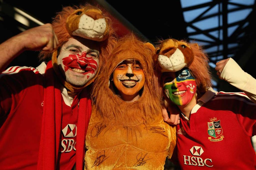 Lions fans at Etihad Stadium before the second test.