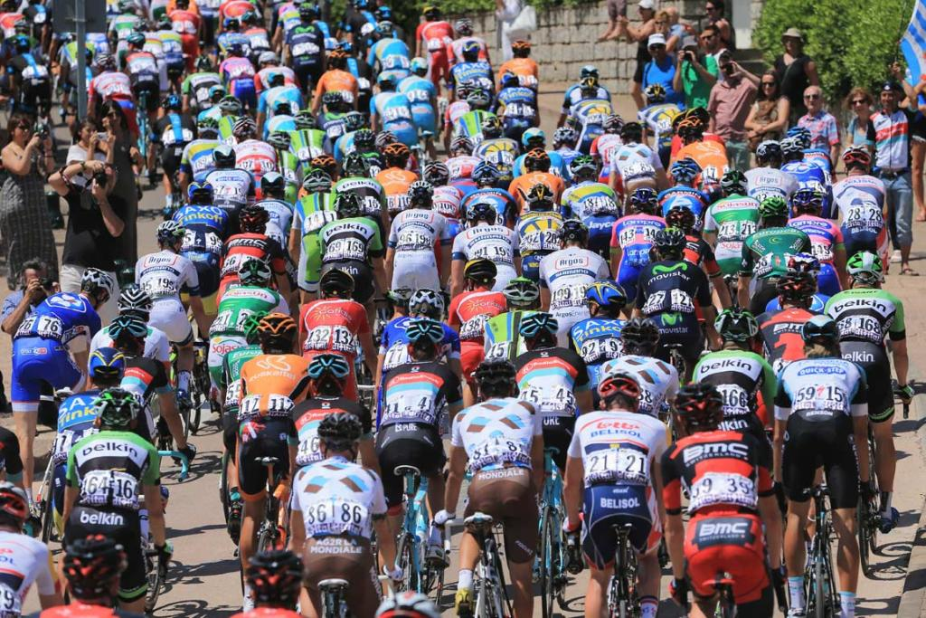 The peleton begins stage one in Porto Vecchio.