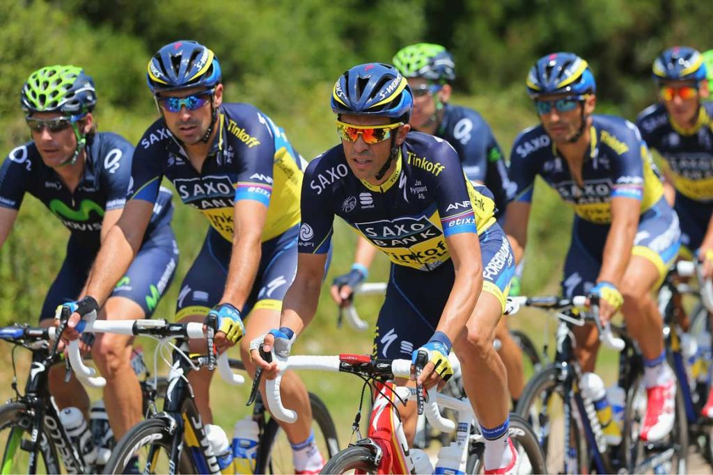 Alberto Contador of Spain rides with his Saxo-Tinkoff team.