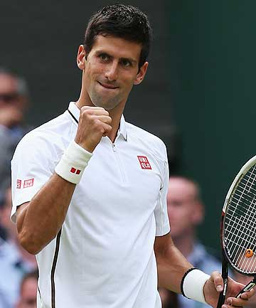MR PERFECT: Novak Djokovic of Serbia during his third round straight sets win over Jeremy Chardy of France in the men's singles at the Wimbledon Lawn Tennis Championships in London.
