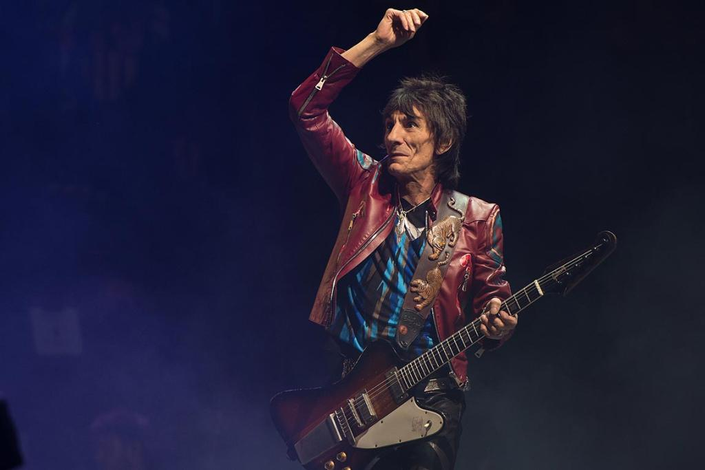 Ronnie Wood of The Rolling Stones performs on the Pyramid Stage during day three of the 2013 Glastonbury Festival at Worthy Farm.
