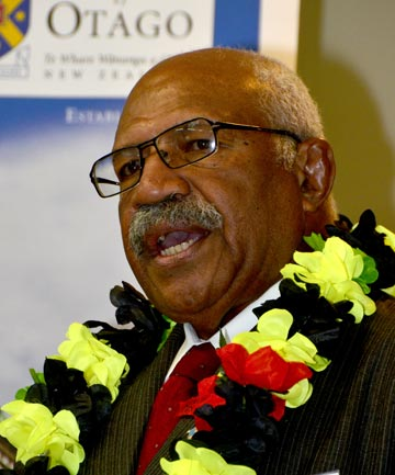 NEW RACE: Former Fiji coup leader Sitevini Rabuka at the Otago University Foreign Policy school in Dunedin this weekend. Announcing he is available, if asked, to run for a democratic parliament.