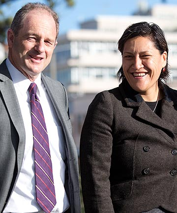 Labour leader David Shearer with the party's candidate Meka Whaitiri who won Ikaroa-Rawhiti by-election.