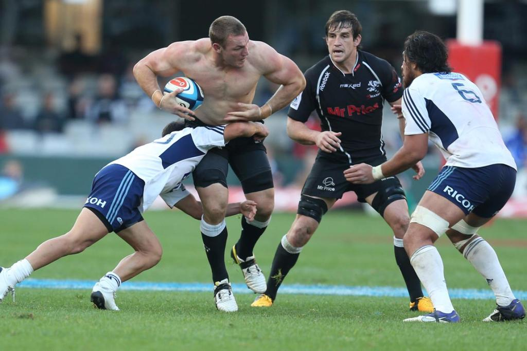 Jean Deysel of the Sharks continues play without his shirt during the Super Rugby match between The Sharks and Blues from Growthpoint Kings Park.