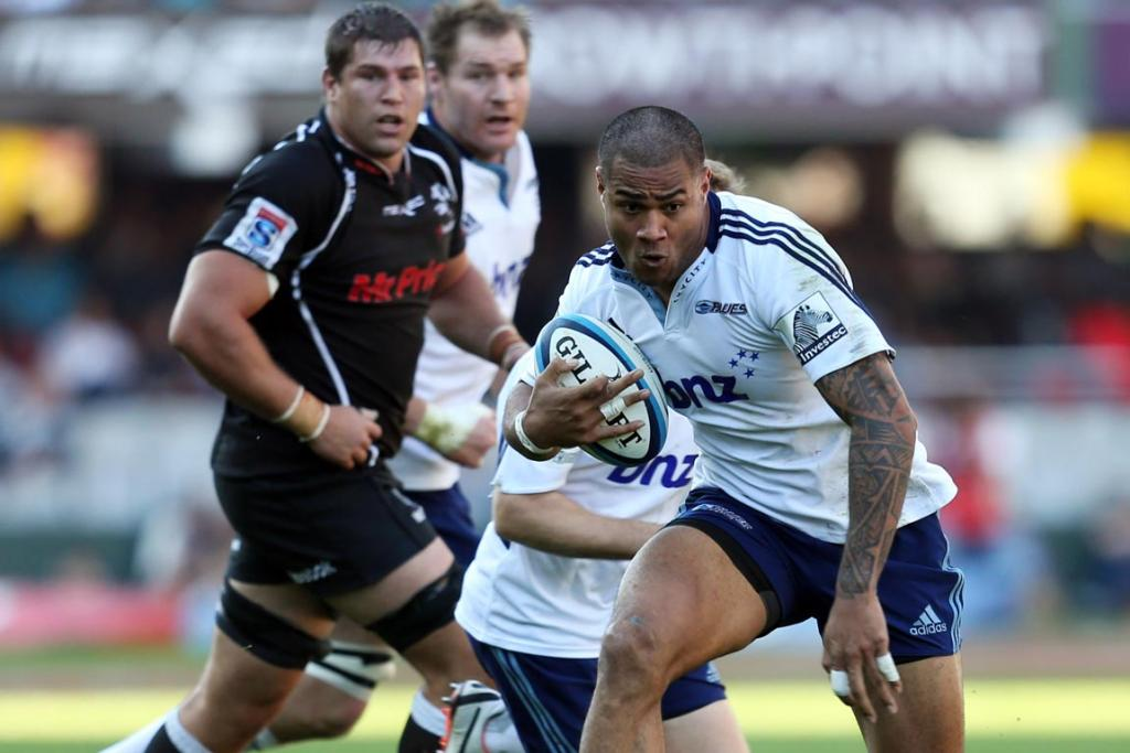 George Moala of the Blues in action during the Super Rugby match between The Sharks and Blues from Growthpoint Kings Park.