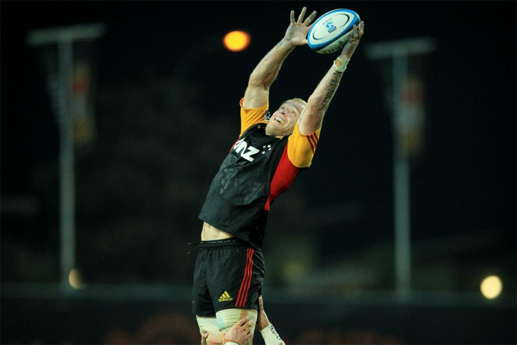 Matt Vant Leven climbs high to win a lineout against the Hurricanes.