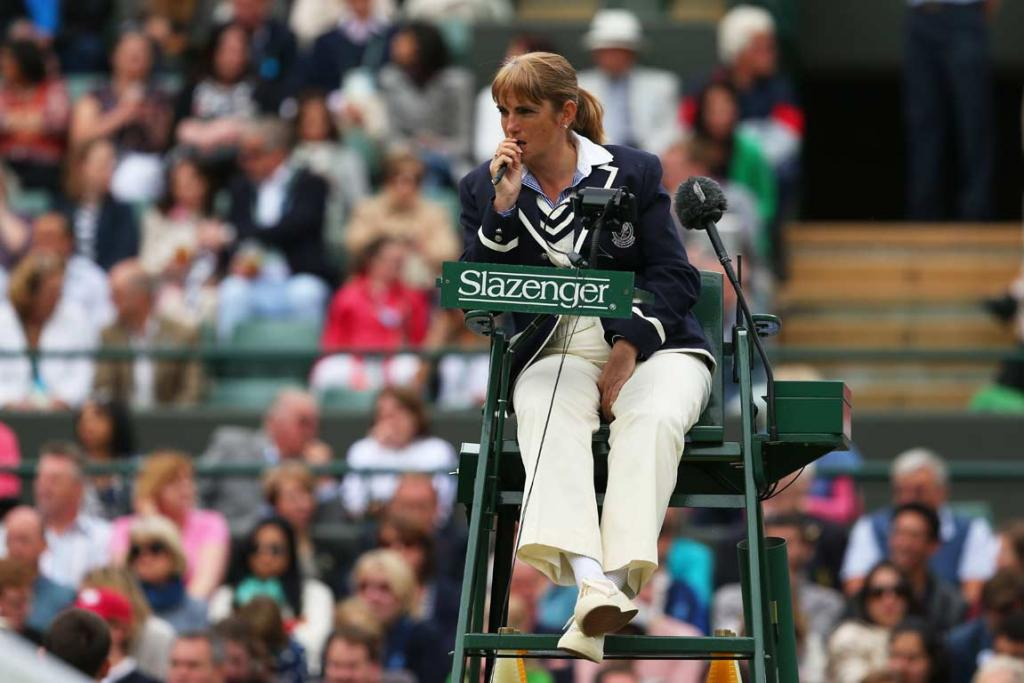 Chair umpire Kerrilyn Cramer watches on during the women's quarterfinal between Sabine Lisicki and Kaia Kanepi.