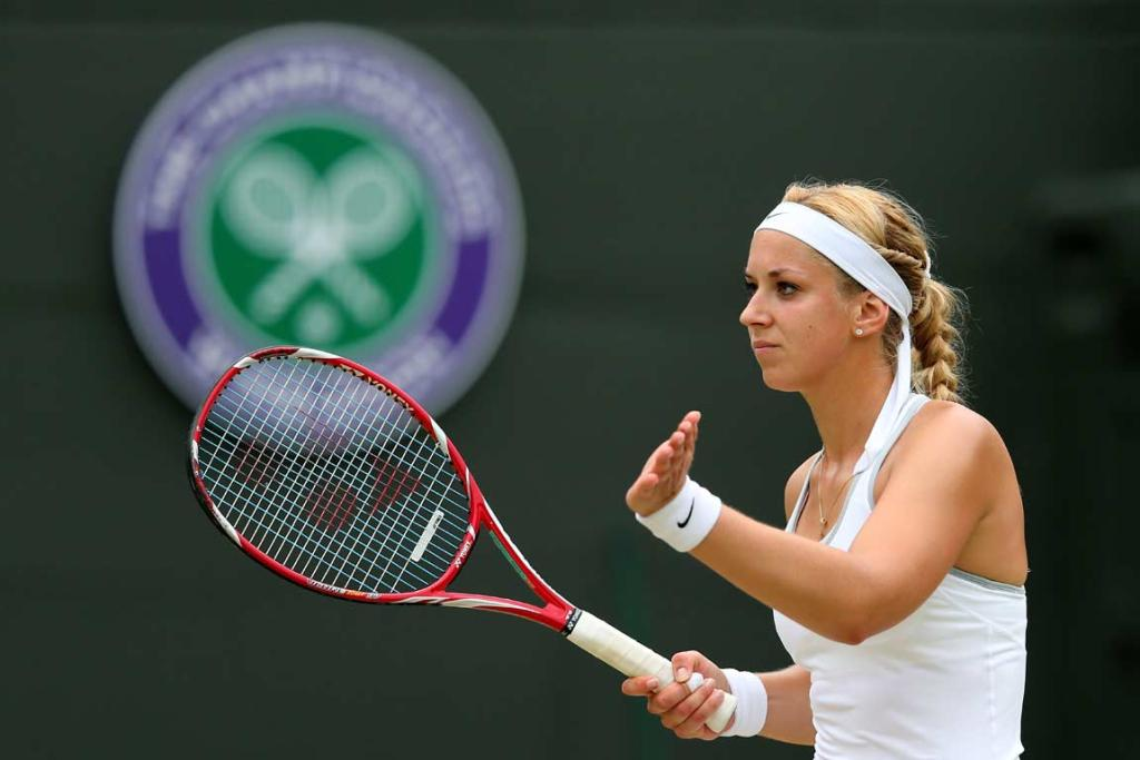 Sabine Lisicki reacts after a point during her quarterfinal victory over Kaia Kanepi.