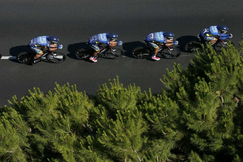 Saxo Tinkoff riders compete in stage four in Nice.