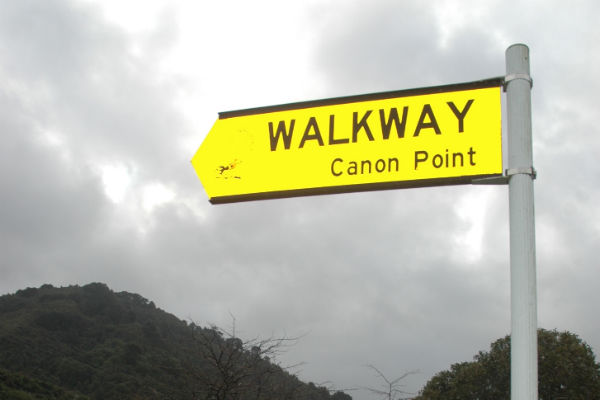 In the firing line: An incorrectly spelt Upper Hutt City Council sign to Cannon Point.