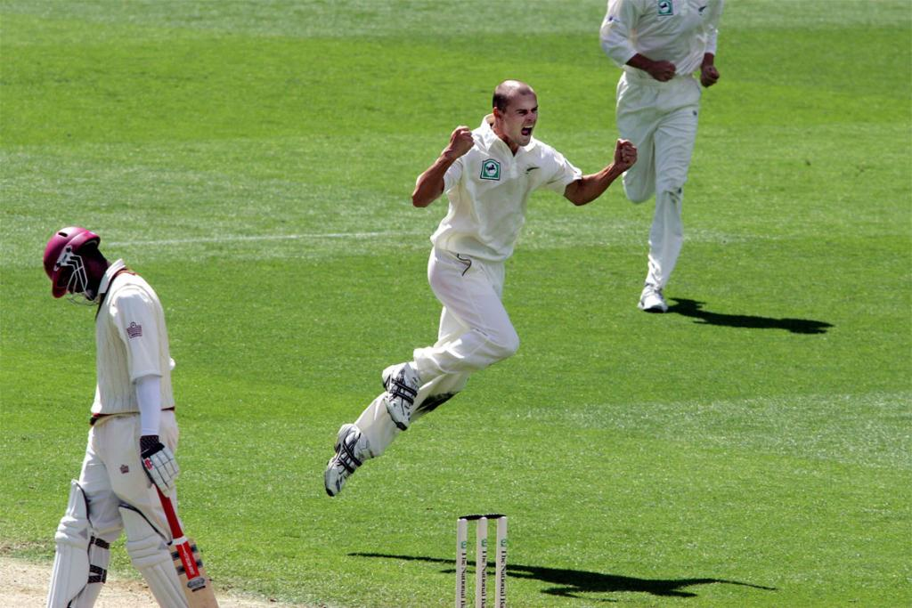 Celebrating the wicket of the West Indies' Dwayne Smith at Eden Park in 2006.