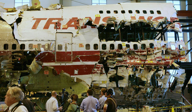 Remains of TWA flight 800 were reassembled to aid in the crash investigation.