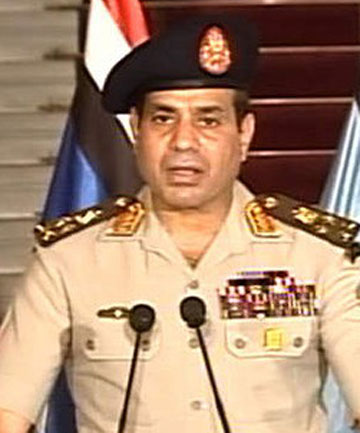 Lieutenant General Abdel-Fattah el-Sisi addresses the nation on Egyptian State Television.
