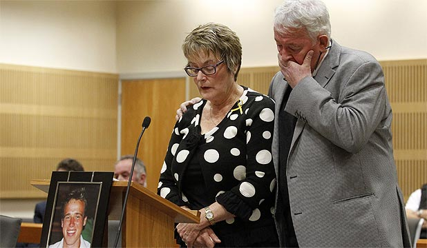 SON MOURNED: Kath Monk, the mother of Pike River mine victim Michael Monk, reads her victim impact statement supported by husband Bernie Monk.