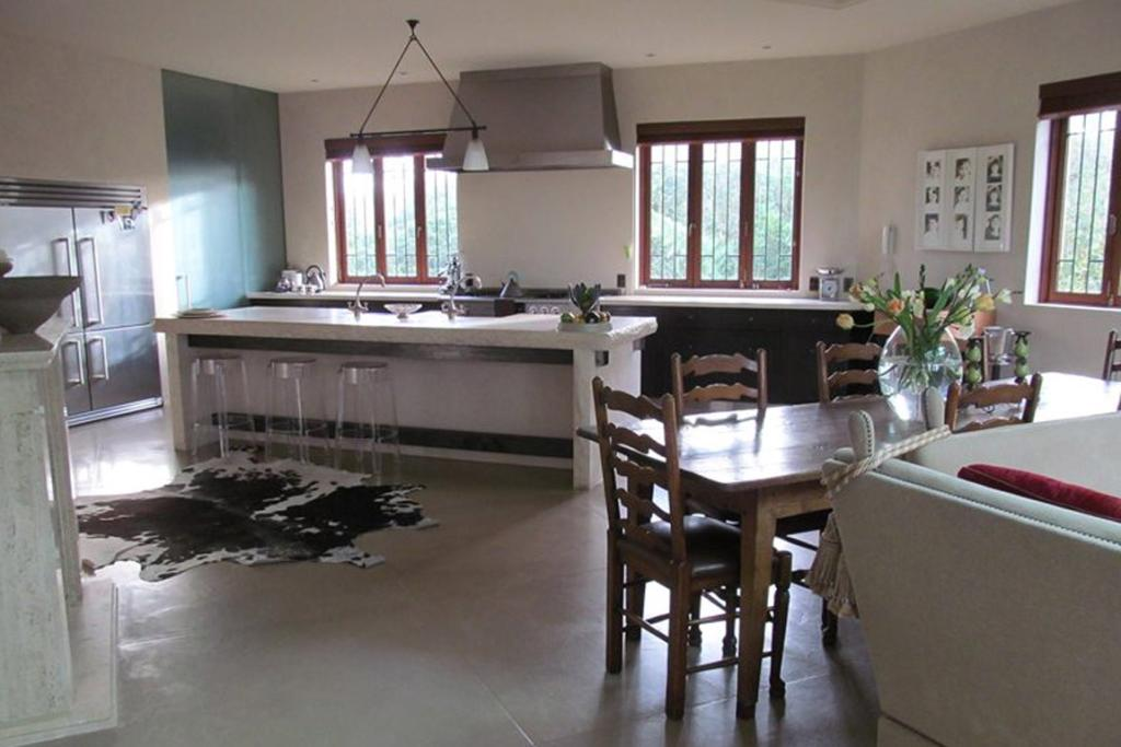 The kitchen and dining areas.