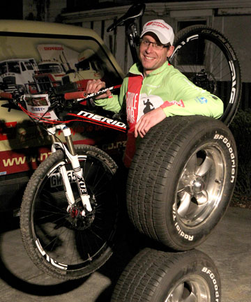 AFTER: Angus Petrie after his 50kg loss – much more than a spare tire, more like two wheels off his car and his mountainbike.