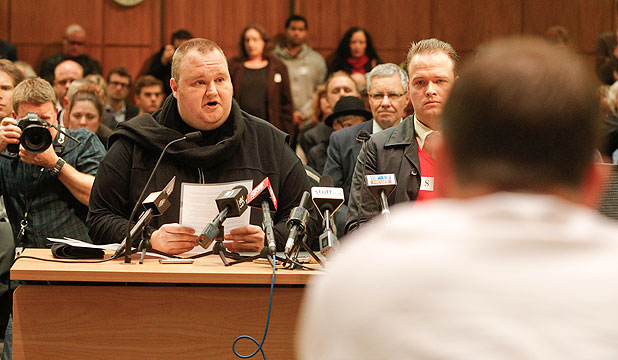 CENTRE OF ATTENTION: Kim Dotcom was undoubtedly the star turn at the hearings.