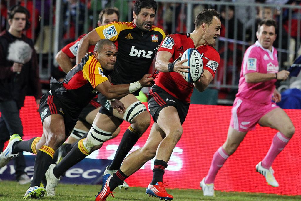 Crusaders fullback Israel Dagg takes off.