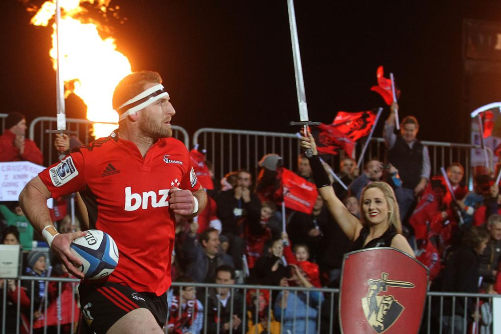 Kieran Read runs out at AMI stadium.