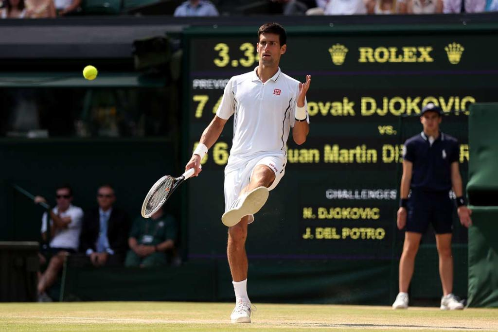 Novak Djokovic kicks the ball away on a Juan Martin del Potro service fault.