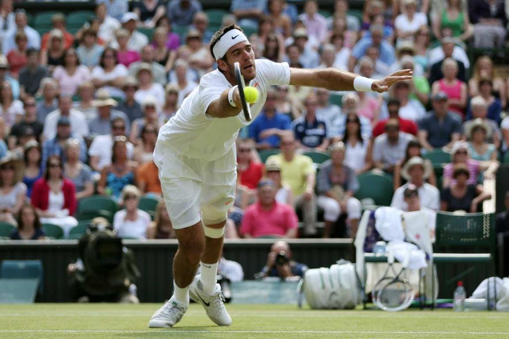 Juan Martin del Potro stretches for a forehand volley.