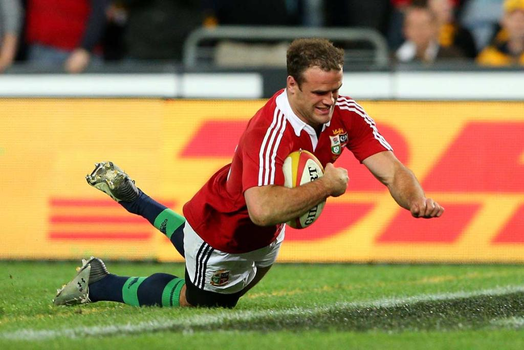 Centre Jamie Roberts dives over for a second half try that sealed the Lions' victory.