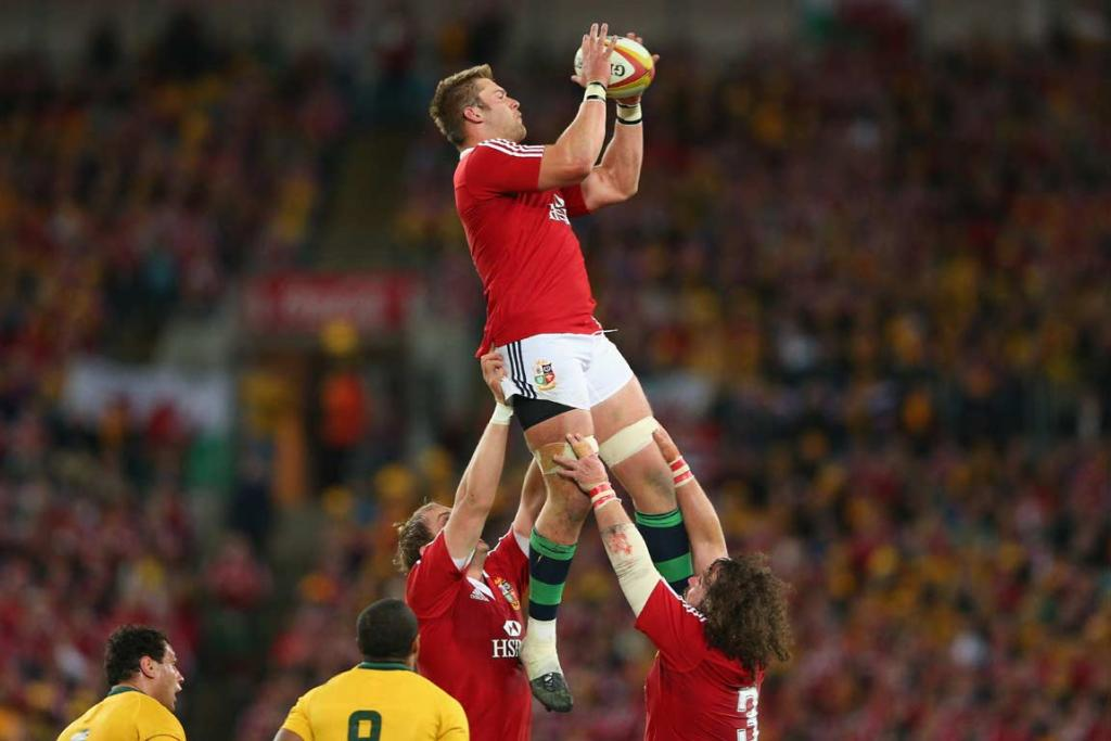 Lions lock Dan Lydiate rises high to take the ball from a lineout.