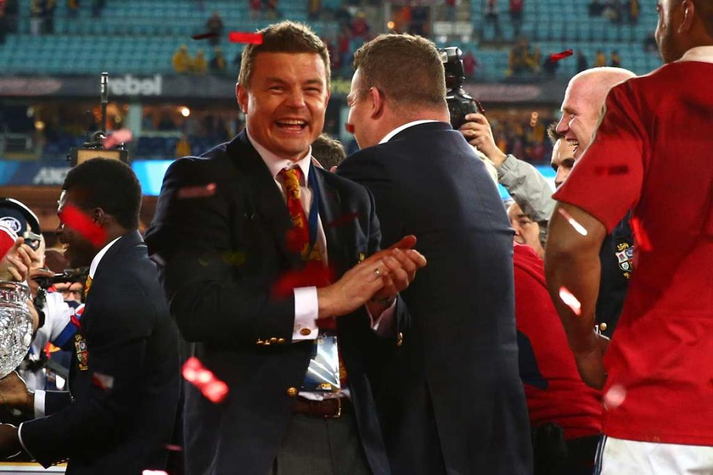 Brian O'Driscoll, dropped for the third test, celebrates the team's victory.
