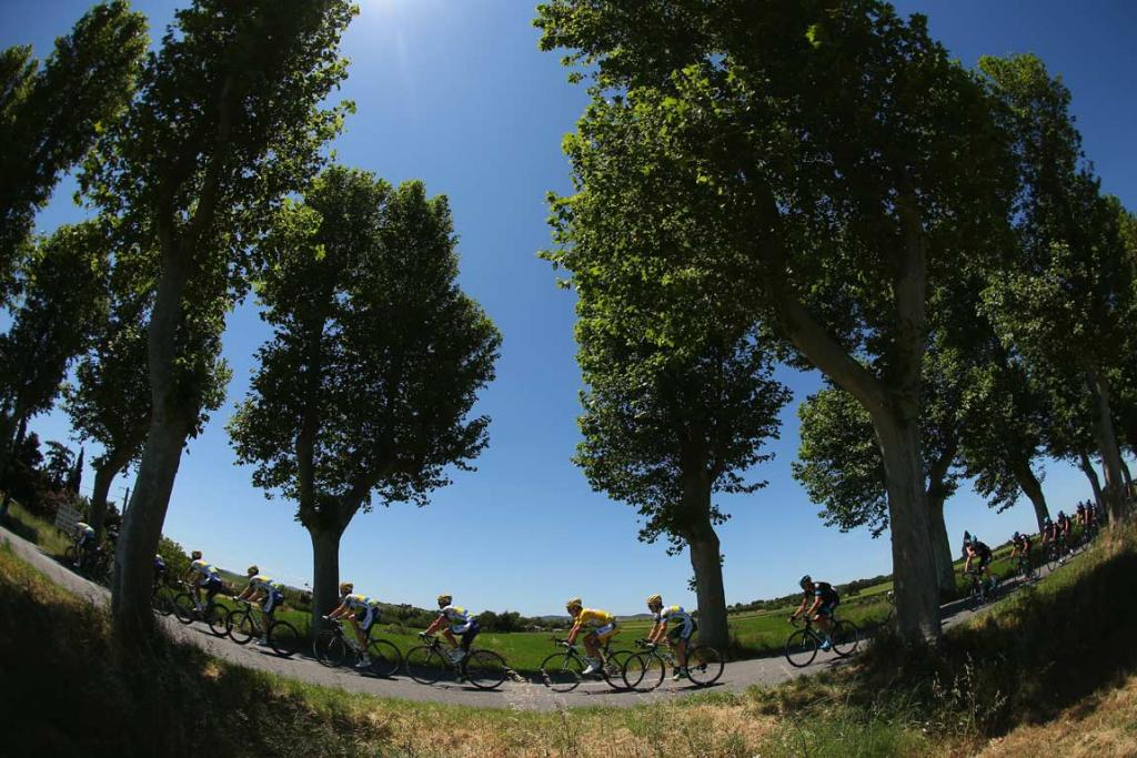 Team Sky riders pass through the French countryside on stage eight.